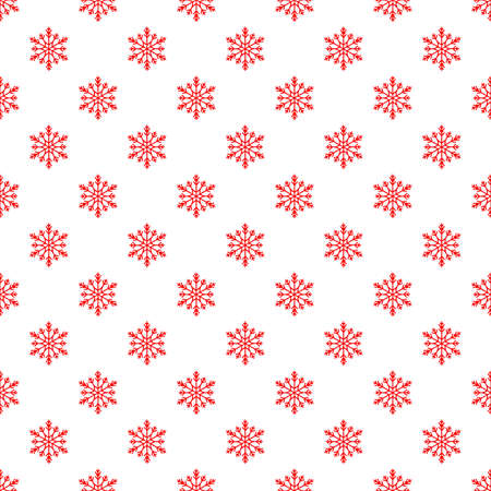 Christmas seamless pattern with snowflakes on white background. Winter background with snowfall. Endless christmas pattern