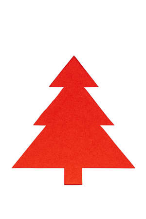 Red Christmas trees on white background. Minimal composition background. New Year and Christmas concept.