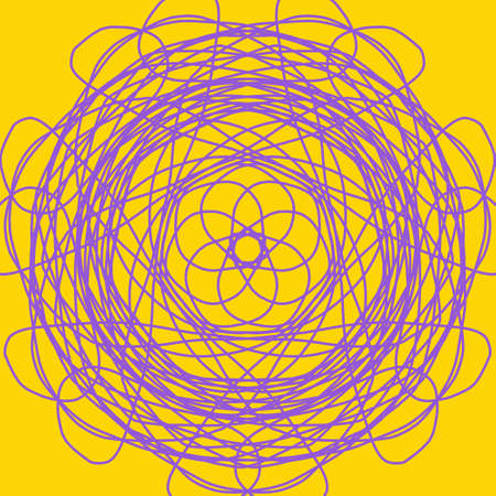 Purple abstract shape on yellow background. Computer generated geometric illustration. Abstract digital background. Geometric Shape, Circle, Geometry, Line, Spiral, Spirograph, Symmetry, Ornament