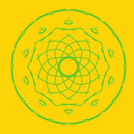 Green abstract shape on yellow background. Computer generated geometric illustration. Abstract digital background. Geometric Shape, Circle, Geometry, Line, Spiral, Spirograph, Symmetry, Ornament