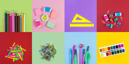 Set of various school stationery on background of multicolored paper. Back to school and education concept. Top view, flat lay stationery with copy space