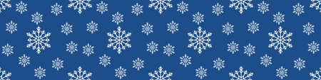 Christmas seamless pattern with snowflakes on pastel blue background. Winter background with snowfall. Endless Christmas Pattern. extra wide banner background Imagens