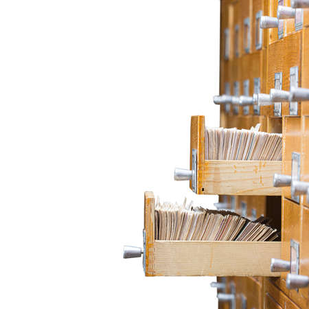 Library or archive reference card catalog. Database, knowledge base concept. Old library or archive reference catalog with opened card drawer