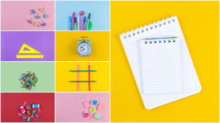 Set of school accessory for learning letter drawing education on background of multicolored paper. Back to school and education concept. Top view, flat lay stationery with copy space