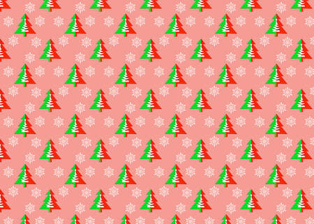Seamless pattern with christmas trees and snowflakes on a pink background. Minimal composition pattern background of Christmas trees. New year and Christmas concept. Endless pattern