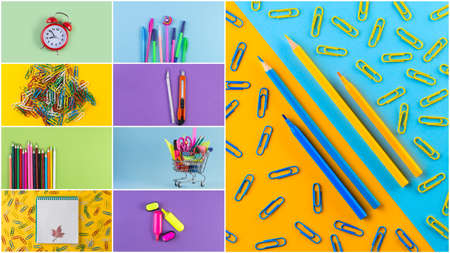 Collage photos of various stationery on background of multicolored paper. Back to school and education concept. Top view, flat lay stationery with copy space
