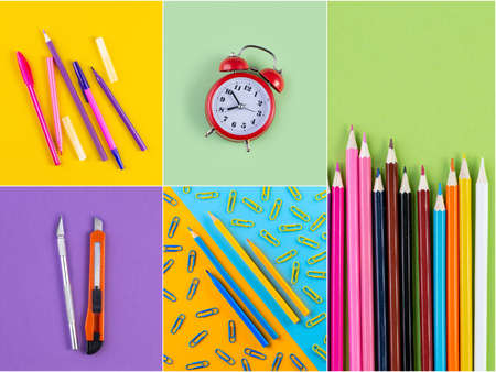 Collage photos of various stationery on background of multicolored paper. Back to school concept.