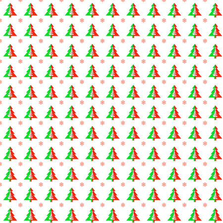 Seamless pattern with christmas trees and snowflakes on a white background.
