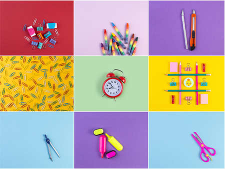 Collage photos of various stationery on background of multicolored paper. Back to school and education concept