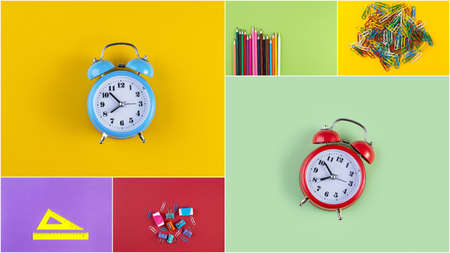 Collage photos of various stationery on background of multicolored paper. Back to school concept Imagens