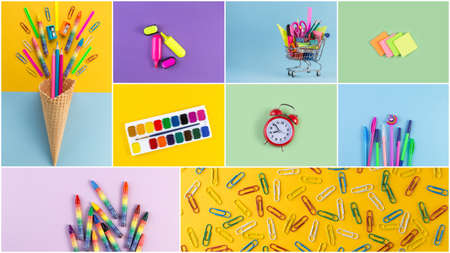 Set of school accessory for learning letter drawing education on background of multicolored paper.