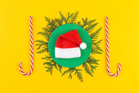 Christmas composition with coniferous tree branches on yellow paper background.