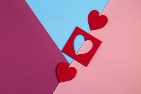 Creative Valentine Day romantic composition flat lay love holiday celebration with red heart.