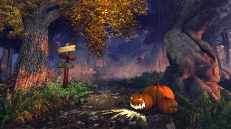 Spooky forest with wooden pointer, pumpkins and haunted house in the distance