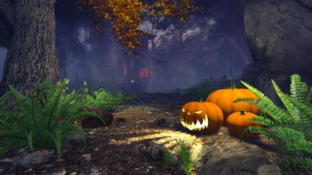 Spooky forest with pumpkins on foreground photo