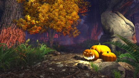 3D illustration of a spooky forest with pumpkins under old tree and with haunted house in the distance illustration