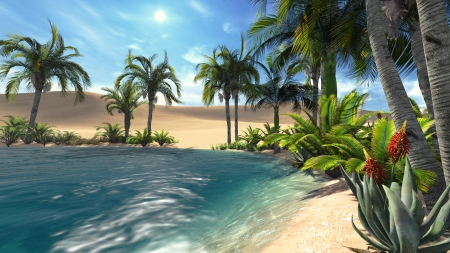 Oasis in the desert  Realistic illustration from my own 3D rendering file  illustration