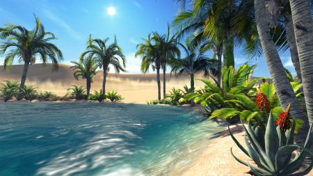 sandhills: Oasis in the desert  Realistic illustration from my own 3D rendering file