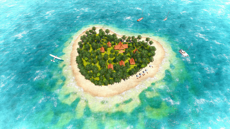 Tropical island in the shape of heart  Sketch photo