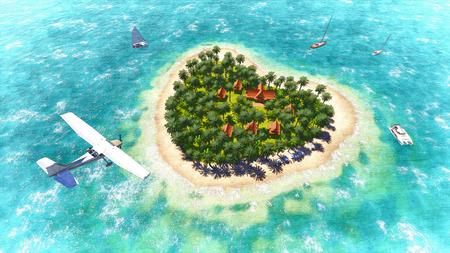 Plane over the heart-shaped island  Sketch_2 photo