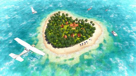 Plane over the heart-shaped island  Sketch_1 photo