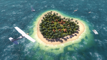 Plane over the heart-shaped island photo
