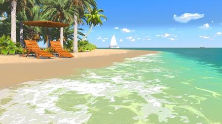 Deckchairs and parasol on a tropical beach 1 photo