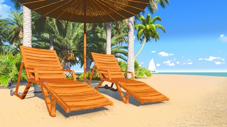 Deckchairs and parasol on a tropical beach 2 photo