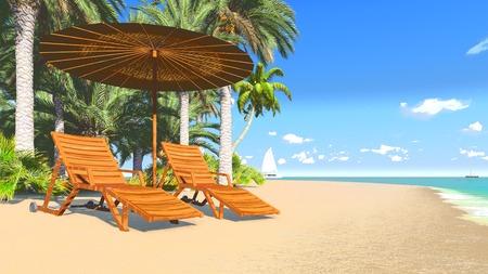Deckchairs and parasol on a tropical beach 3 photo