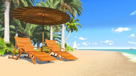 Deckchairs and parasol on a tropical beach 3