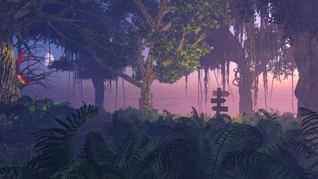 the thicket: Realistic 3D illustration of fern thicket at night