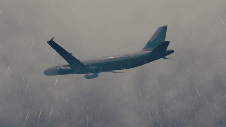grizzle: Passenger plane flying through a storm