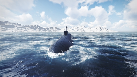 front view: Russian nuclear-powered submarine front view 2