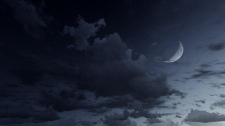 starlit sky: Night sky with half moon stars and clouds
