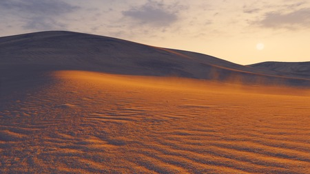 extreme angle: Sunset in a desert. Low angle closeup view