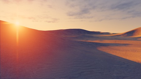 desert sun: Sun sets behind the sandy dunes