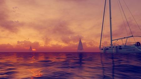 setting  sun: Sailboats silhouettes against the setting sun