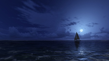 Lonely sailboat in the night ocean under half moon Imagens
