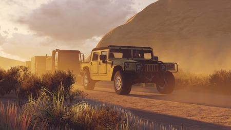 앞서 사막 도로에 SUV와 군사 자동차 행렬