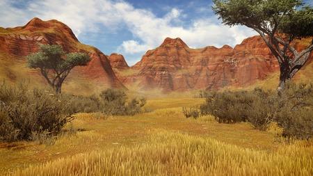 plantas del desierto: Rocas y plantas del desierto rojo en un cañón durante el día