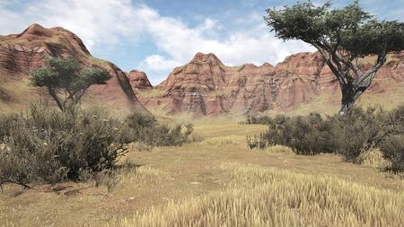 plantas del desierto: Rojo rayado rocas y plantas del desierto en un ca��n