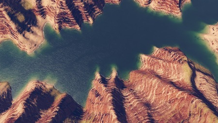 shore line: Canyon river aerial view Stock Photo