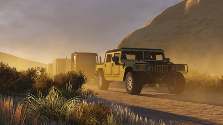 autotruck: Military motorcade with SUV ahead on a dirt road