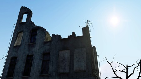 ravage: Ruined building against bright sunny sky