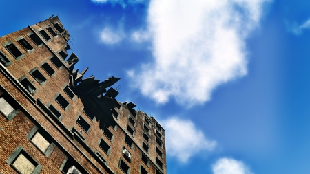 ravage: Ruined apartment building against blue sky