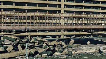 wrecks: Rusty bridge on a construction wrecks background