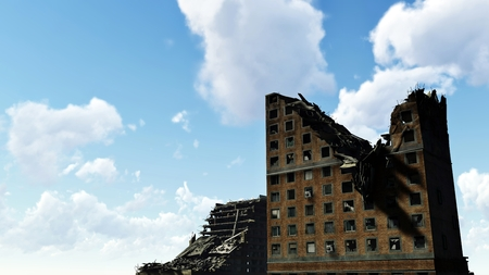 blue cloudy sky: Ruins of the high-rise buildings against blue cloudy sky Stock Photo