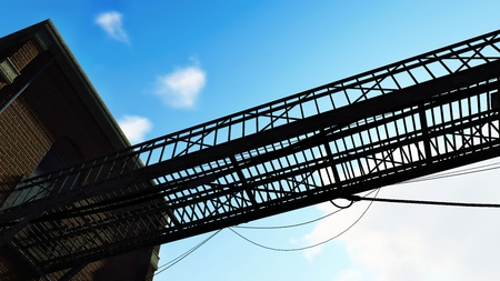 bulkhead: Silhouette of the old metal bridge against the cloudy blue sky. Close up Stock Photo