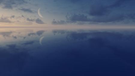 Cielo de la noche estrellada con una media luna sobre la superficie del espejo al caer la noche Foto de archivo - 43822756
