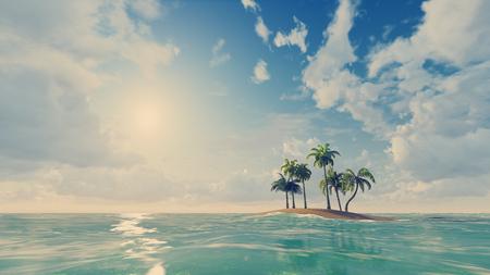 playas tropicales: Pequeña isla tropical con algunas palmeras en día
